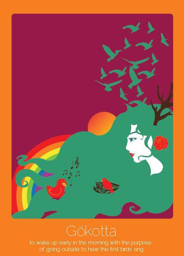 found in translation untranslatable words illustrations anjana iyer 11 Gökotta (svedese): svegliarsi all'alba per sentire il primo canto degli uccelli.