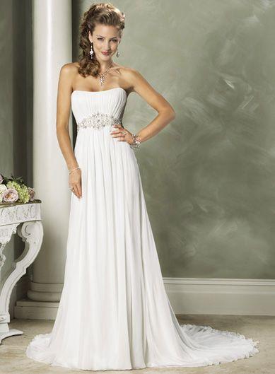 Fashionable Strapless Empire waist Chiffon beach wedding dress $159