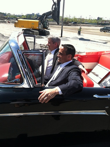 Don Briggs and Mayor Joe Curtatone in one of the original #Ford #Edsels built on this very site at the groundbreaking of Assembly Row. #Somerville