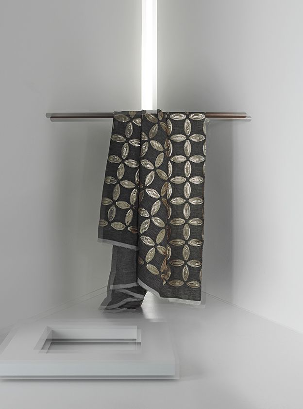 TESEO by Ulf Moritz - Decorating fabric made of linen with embroidered sequins producing a stylised blossom design.