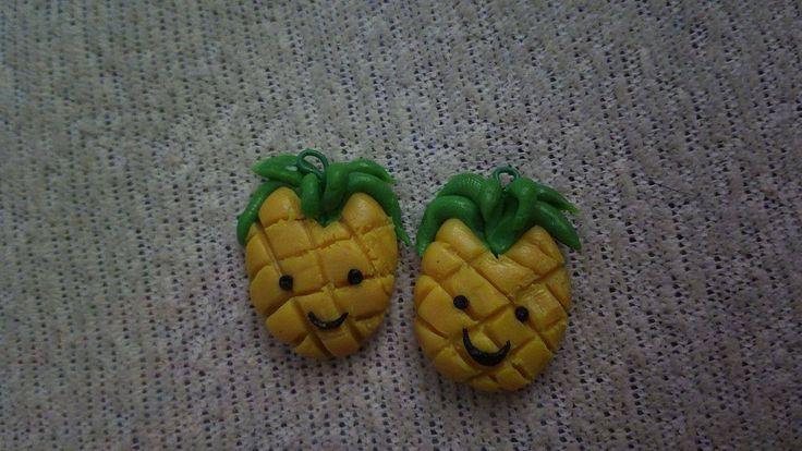 baked plasticine pineapple earrings