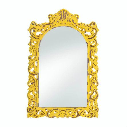 Let this mirror be a reflection of your sense of style. The opulent frame features yellow flourishes that are distressed to perfection. The arched mirror makes it a timeless accent that you'll love gazing at and into for years to come.
