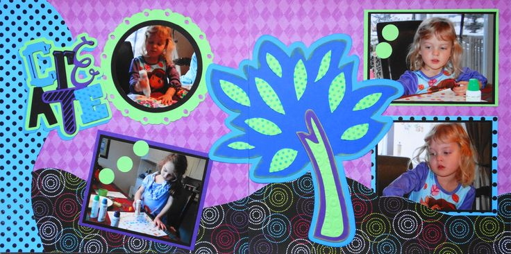 Scrapbook Page - 2 page layout of children doing crafts with a tree - from Everyday Life Album 32.