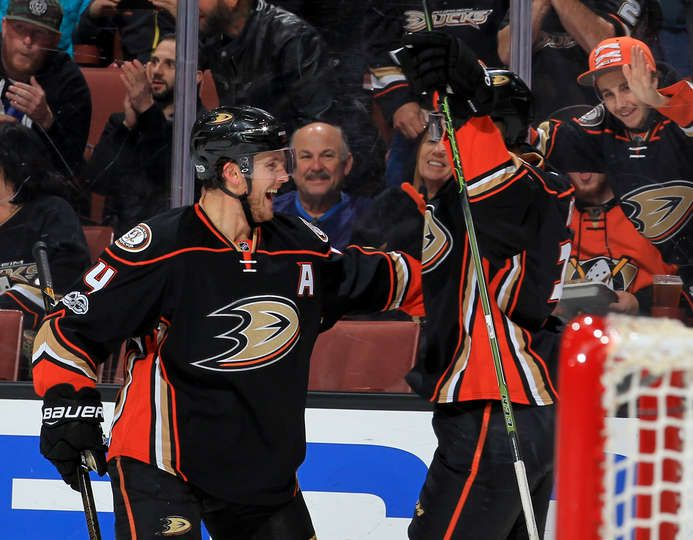 Cam Fowler 4 and Nick Ritchie 37 of the Anaheim Ducks celebrate Ritchie's first period goal against the Detroit Red Wings