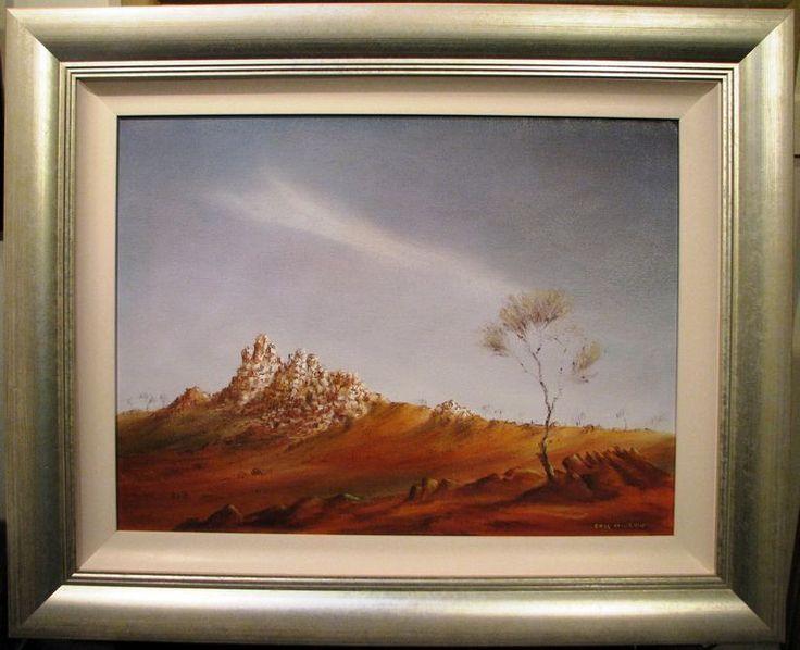 Eric Minchin oil  Outback Landscape, The White Ladies, Tibooburra NSW  Australia
