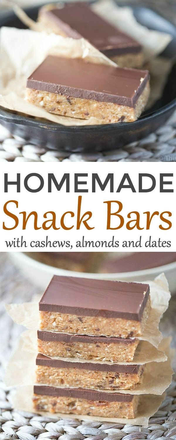 These gluten free Homemade Snack Bars are packed with raw cashews and almonds, dates and coconut flour. Sweetened with maple syrup and honey, topped with dark chocolate!