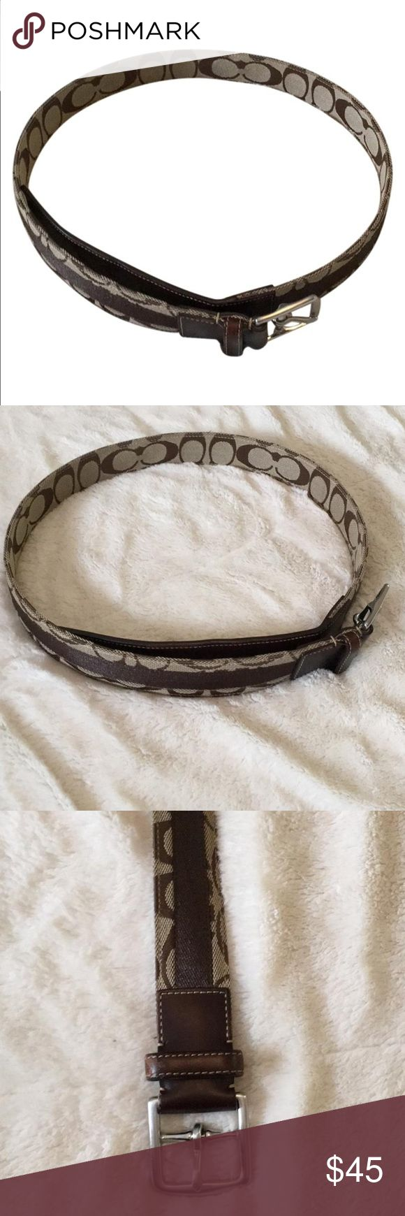 Authentic Brown Coach Belt Authentic brown and light brown coach belt with silver hardware. Slight leather aging visible on belt loop, shown in the last picture. Belt otherwise in good condition. Belt size is 34. The 39 inches are from the belt buckle to the end of the belt. Coach Accessories Belts
