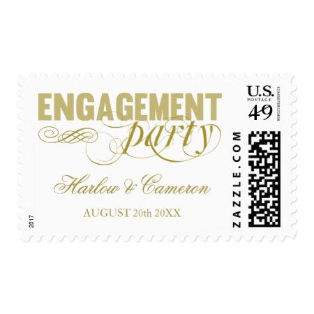 Elegant Gold Engagement Party Postage - tap, personalize, buy right now!