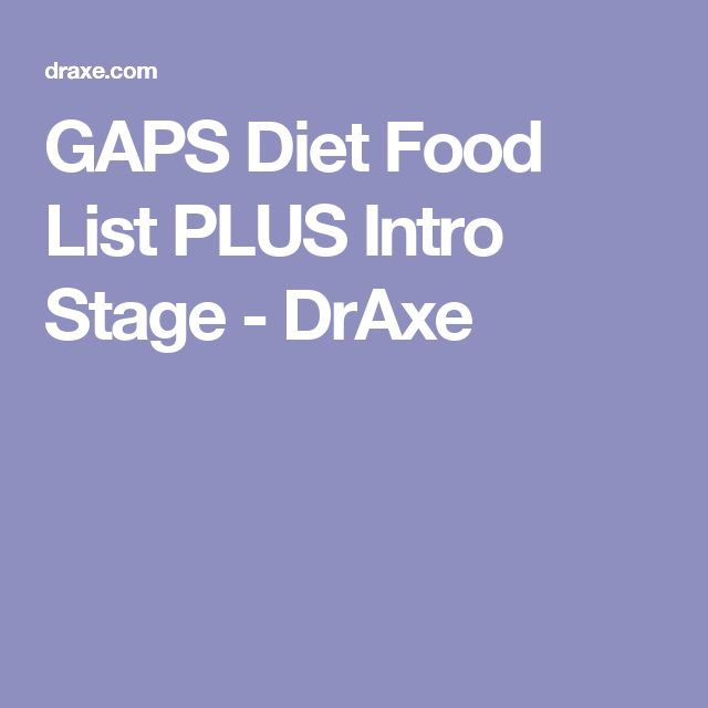 Gaps Diet Food List Stage