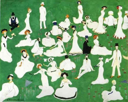/ Kazimir Malevich, Rest. Society in Top Hats, 1908.