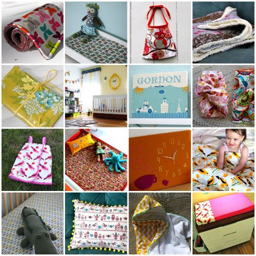 20 projects from Prudent Baby that you can do yourself to create custom baby bedding (crib sheets, changing pad covers, pack n play sheets, blankets), nursery decor (curtains, pillows, wall art), and baby gear (hooded towels, bibs, burp cloths).