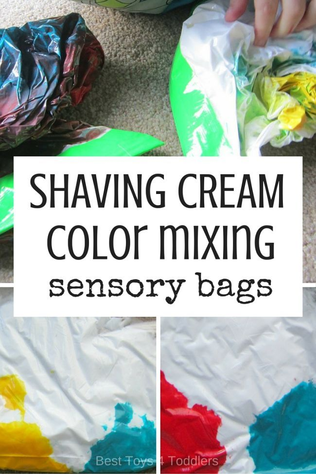 Best Toys 4 Toddlers - Mess-free way to teach about mixing colors - use sensor bags with shaving foam!