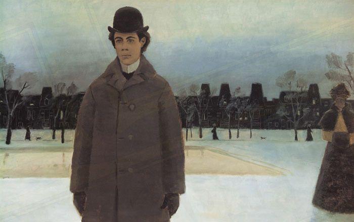 Nelligan au carré Saint-Louis. Oeuvre du peintre québécois Jean-Paul Lemieux. 19xx.