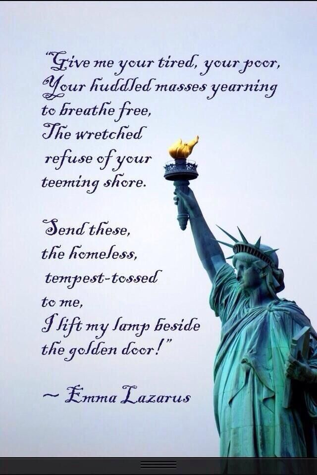 "Statue of Liberty. ""The New Colossus"", written in 1883 by Emma Lazarus."