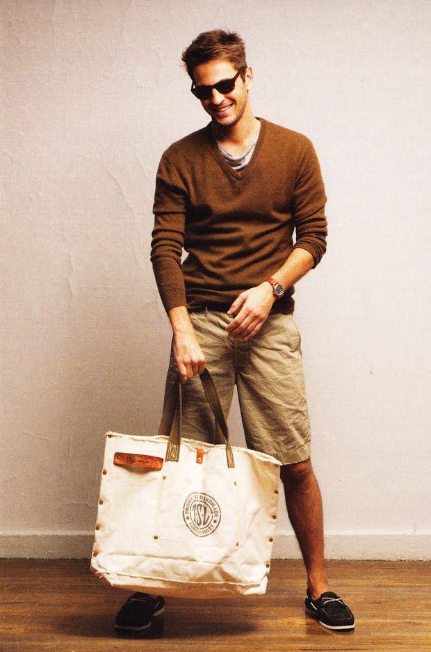 brown v-collar sweater, grey roundneck tee, kaki shorts, canvas bag / men fashion