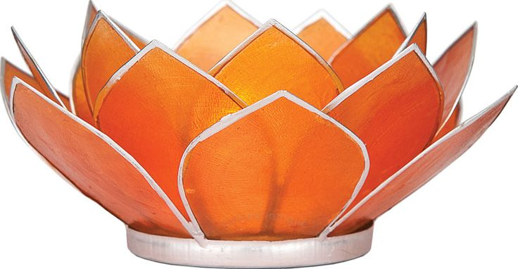 Mango Orange 3-Layer Capiz Lotus Candle Holder (silver edged) from luna bazaar (cocktail tables?)