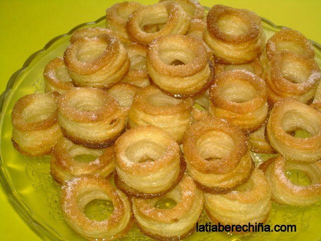 Rosquillas de hojaldre.(con glaseado)
