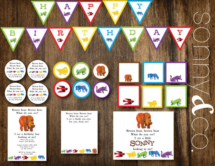Brown Bear Eric Carle inspired Birthday or Baby Shower Printable Party Package. $17.50, via Etsy.