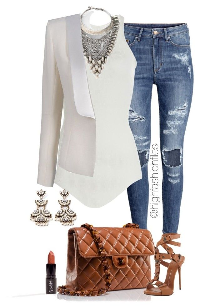"""""""Casual work Look"""" by highfashionfiles ❤ liked on Polyvore featuring H&M, Chanel, Giuseppe Zanotti, Rick Owens, DYLANLEX, Balmain and Forever 21"""