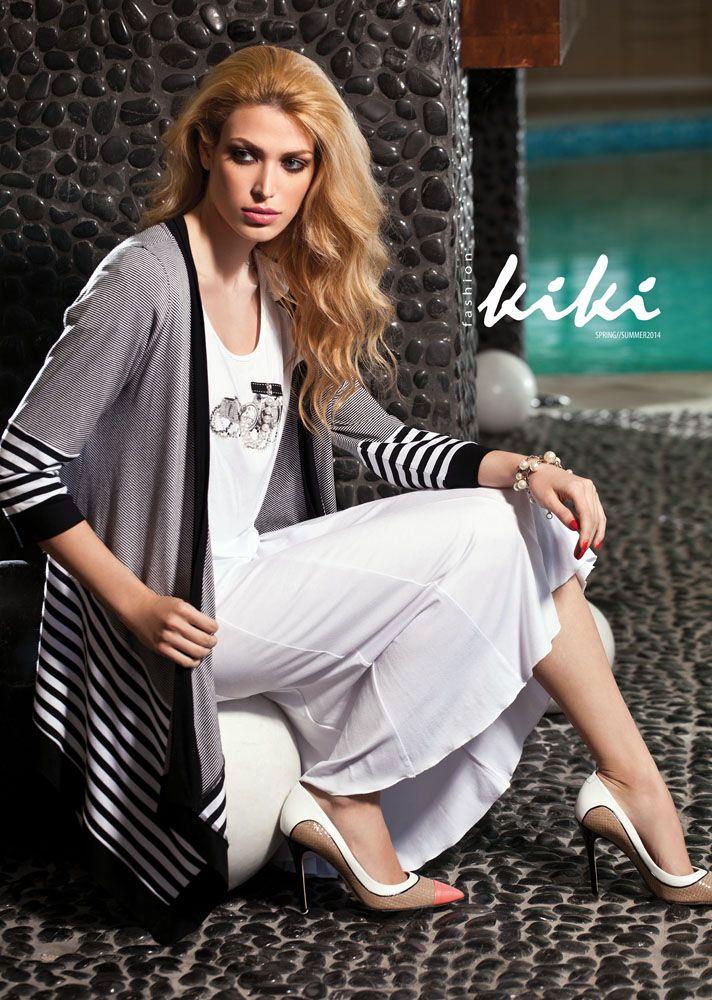 Top, skirt & striped jacket