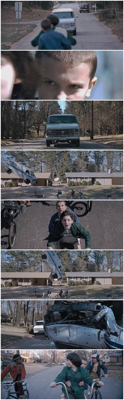 Holy shit! Did you see what she did to that van? #stranger things #eleven…