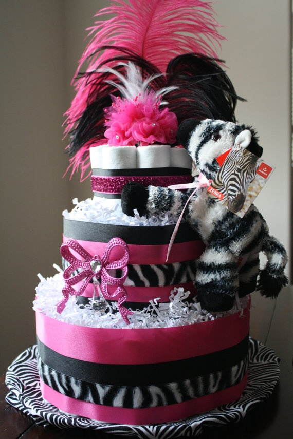 Hot Pink & Zebra Diaper Cake by DuckyDuckDiaperCakes on Etsy, $60.00