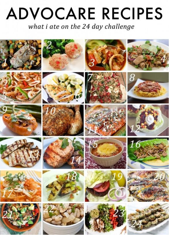 Advocare 24 Day Challenge Meal Plan featuring delicious and clean eating.  These are not necessarily endorsed by Advocare, so make sure you check the ingredients and portions to make sure they are within your limits :)