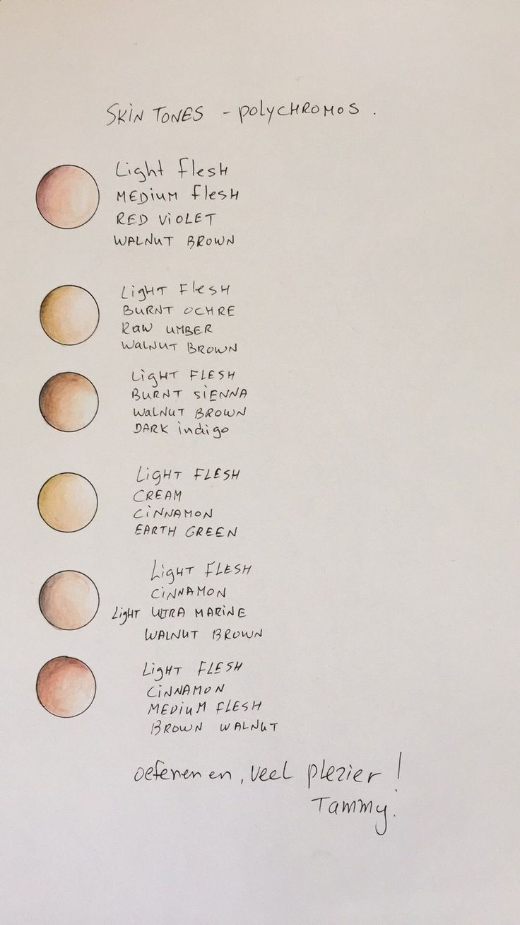 Illustrator Dicas My skin tones pallet with Faber Castell Polychromos pencils