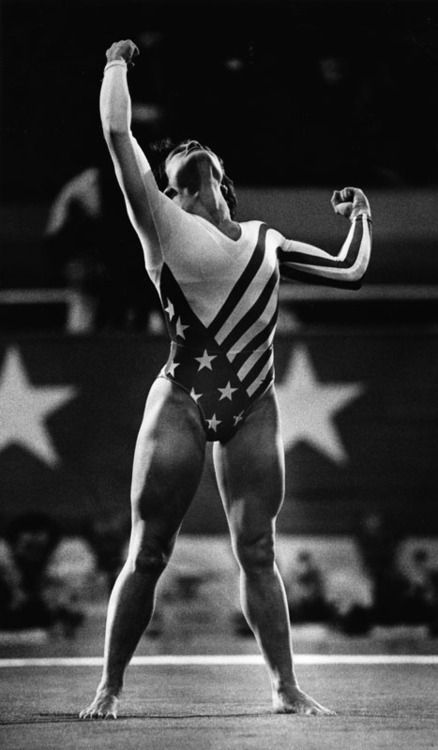 Mary Lou Retton after a 10 in vault made her the first American woman to win all-around Olympic gold, 1984.