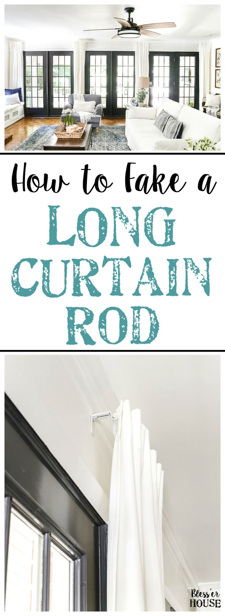 How to Fake a Long Curtain Rod   blesserhouse.com - A simple, inexpensive trick to fake the look of a long curtain rod, plus how to hang curtains to make windows and rooms look bigger.