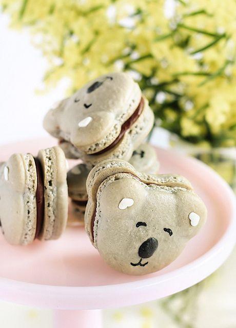 Caramel Koala Macarons by raspberri cupcakes, via Flickr http://www.flickr.com/photos/stephcookie/7763014692/in/photostream#