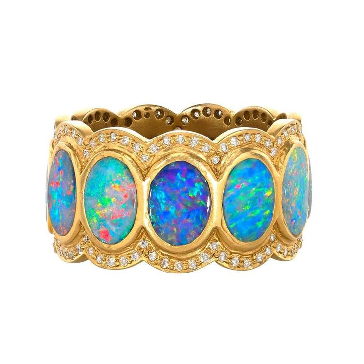 Lauren Harper Boulder Opal Disc Diamond Matte Gold Eternity Band Ring. Eternity Band handcrafted in matte-finished 18k yellow gold with oval boulder opal discs surrounded by two rows of round brilliant-cut white diamonds. c 2015