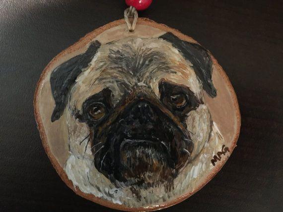 Hand Painted Pet Portrait  on Wood Slice  Mini by TheBackyardBear
