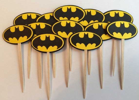 Handmade Batman Cupcake Toppers Set of 12 by JuliesPaperCrafts