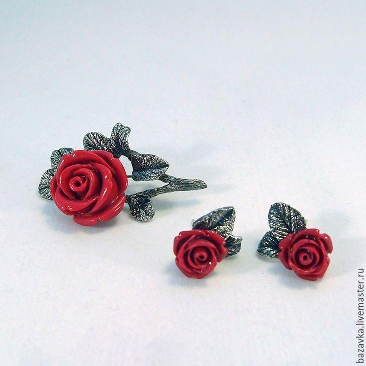"""Купить Серебряное кольцо """"Красная роза"""" - кольцо с кораллом, кольцо с розой, серебро 925 пробы"""