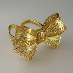 Anel de filigrana em prata dourada