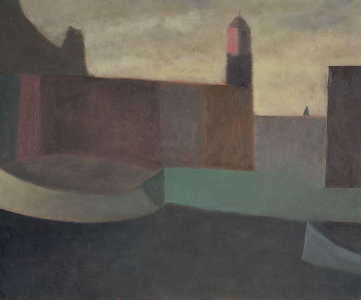 Nicholas Turner 'Lighthouse and Boats' oil on board