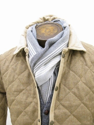 love the quilted neutral tones and linen scarf!