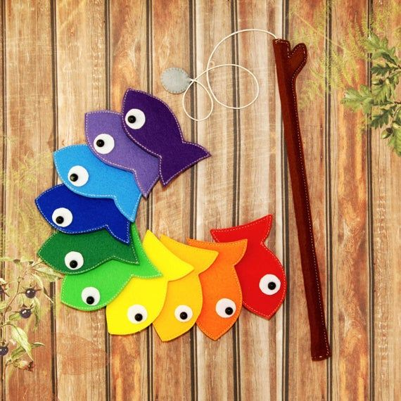 Felt Magnetic Rainbow Fishing Game Kids Magnet Fish Set Of10 Developing Magnet Felt Fish Eco Friendly Game For Imaginative Play Quiet Toy Juegos De Pesca Para Niños Juegos De Pesca Imanes Para