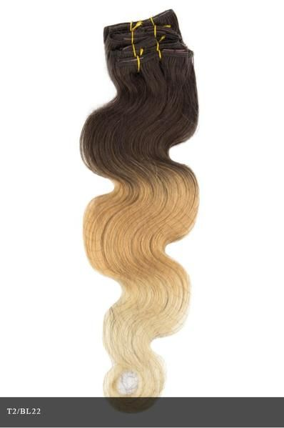 CLIP - 7 PIECE WAVY CLIP-IN ESSENTIAL 100% REMY HUMAN HAIR EXTENSIONS BY BOHYME