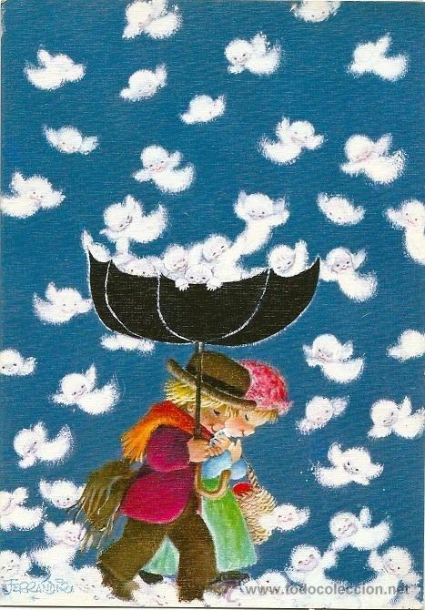 Detalle de la imagen de -0792E -FERRÁNDIZ - LLUEVEN ANGELES - EDIC. SUBI N.1784.1 - DIPTICA ...