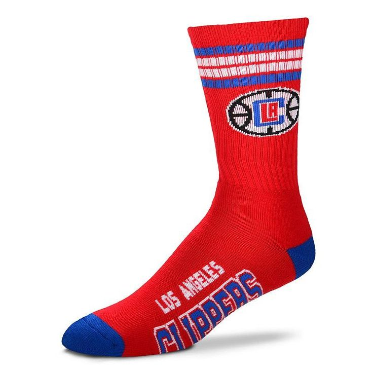 Adult For Bare Feet Los Angeles Clippers Deuce Striped Crew Socks, Men's, Multicolor