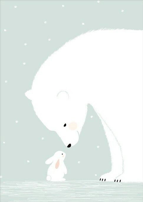 Polar bear meets little bunny