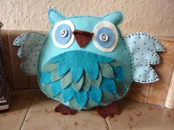 Blue owl softie: Owls Softies, Softies Owls, Stuffed Owls, Sewing Inspiration, Owls Obsession, Blue Owls