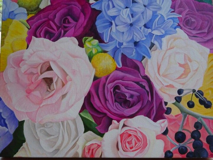 Emmas bouquet, original art by Tracey Hall