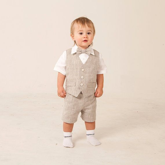 Baby boy linen suit ring bearer outfit baptism natural by Graccia