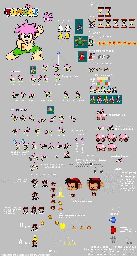 Tomba MM style latest sprites by chaoticdarkness.deviantart.com on @deviantART
