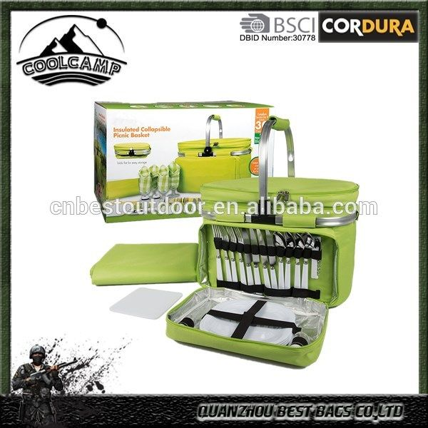 Foldable Insulated Picnic Basket, Service for 4 with Plates, Glasses & Flatware - Full Sized Set Folds down to 5 Inches