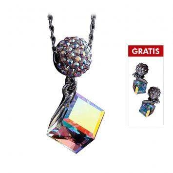 Saint Jewel Swarovski Kalung + Anting Corona Cube - 001 AB Crystal Aurore Boreale
