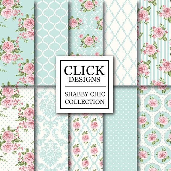 "Shabby Chic Digital Paper: ""SHABBY POWDER BLUE"" Floral scrapbook background, romantic papers with roses, damask for wedding invites, cards"